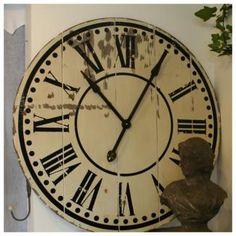Grande Horloge Gare Bois Déco Ø 82 cm - Esprit Brocante & Récup