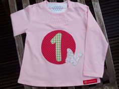 """Langarmshirts - Mädchen-Geburtstagsshirt """"1 Jahr"""", indiv. mit Name - ein Designerstück von zwergenschneiderin bei DaWanda"""
