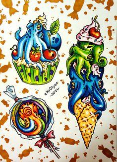 sweet octopus tattoo sketch