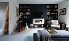 Shelving is everything | Apartment Living Room Ideas For Space-Saving Living