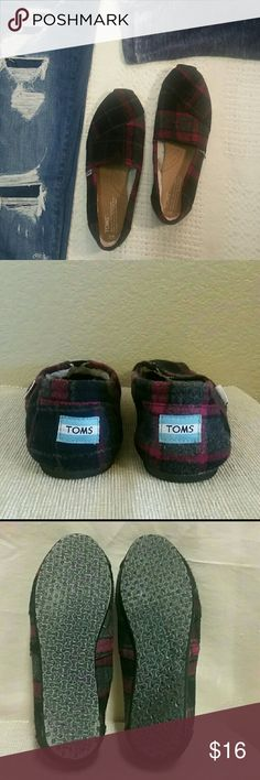 Flannel Toms lined size 9, plaid, purple slip on Flannel toms, lined, purple-black-gray, size 9, preowned condition TOMS Shoes Flats & Loafers