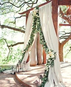 Woodland Wedding Arch with Billowy Fabric and a Cascade of Greenery. What a beautiful wedding arch decoration idea! Outdoor Wedding Reception, Outdoor Ceremony, Wedding Table, Wedding Ceremony, Reception Ideas, Wedding Church, Fall Wedding, Wedding Receptions, Courthouse Wedding