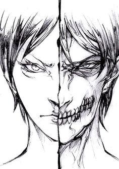 Eren Jaeger - Attack on Titan - Shingeki no Kyojin Manga Anime, Anime Art, Levi X Eren, Armin, Titan Shifter, Kurama Naruto, Sasuke, Humanoid Creatures, Attack On Titan Art