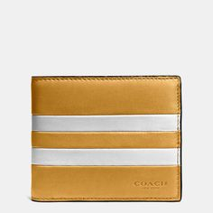 Modern Varsity Stripe Compact Id Wallet in Sport Calf Leather Pink Leather, Calf Leather, Leather Men, Leather Jackets, Briefcase For Men, Leather Briefcase, Coach Wallet, Purse Wallet, Minimalist Leather Wallet
