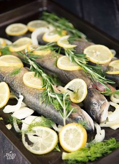Whole rainbow trout roasted with lemon, fennel, and fresh herbs for a simple but flavorful meal.