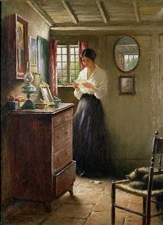 "There is such a story in this painting. ""The Letter"" by William Kay Blacklock (English, : Yes there is. A great illustration for one of the great authors, Bronte, Eyre. Wow Art, Beautiful Paintings, Awesome Paintings, Oeuvre D'art, Painting & Drawing, Woman Painting, Art History, History Museum, Amazing Art"