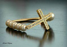Gold Plated Cross Gold Tube White Glass Beads by LoveMyssa on Etsy