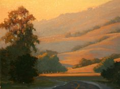 Driving West on Sir Francis Drake Bllvd,, Marin County, Northern California landscape painting art original oil painting http://terrysauve.com/available-painting/