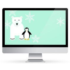 Polar Bear and Penguin January 2018 Calendar Wallpaper