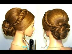 Wedding prom updo, hairstyle for long hair tutorial - YouTube