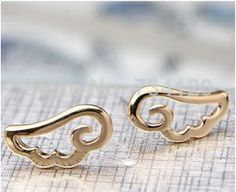 EX017 cute Angel Wings Cheap Womens Earrings hot seling 2014 New Fashion jewelry wholesale gift for woman US $0.25