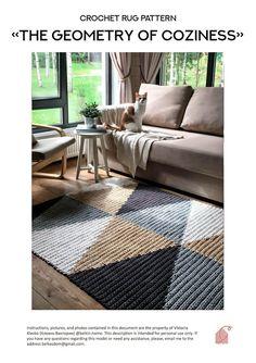 Crochet Pattern / PDF crocher rug pattern, crochet rug / BelkinHome, Home Decor / handmade home decor . Crochet Rug Patterns, Crochet Rugs, Crochet Carpet, Mid-century Interior, Crochet Home Decor, Crochet Basics, Handmade Home Decor, Rug Making, Decoration