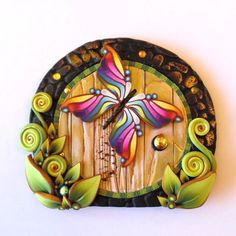 Rainbow Butterfly Fairy Door Pixie Portal Fairy by Claybykim