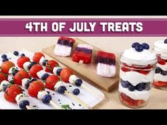 Healthy of July treats that are all vegetarian! Serve these patriotic healthy snacks and show your red white and blue pride! Use fresh watermelon, strawb. Healthy Dessert Recipes, Healthy Snacks, Desserts, Vegan Recipes, Summer Recipes, Holiday Recipes, Fourth Of July Food, 4th Of July Decorations, Summer Treats