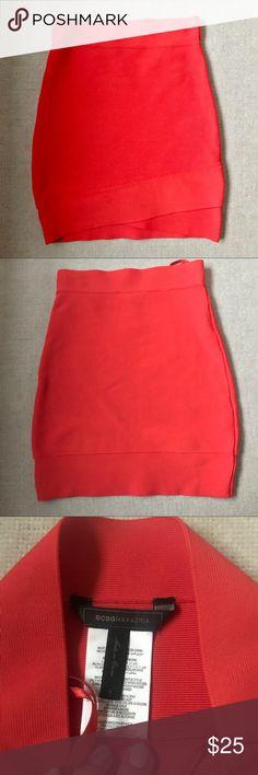 BCBG Orange Bandage Skirt In great condition! BCBGMaxAzria Skirts Mini