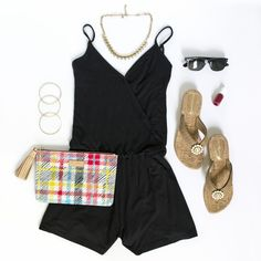 Summer Style: Black Romper w/ wedge flip flops featuring removable/interchangeable straps for different looks with one shoe   Lindsay Philips Switchflops