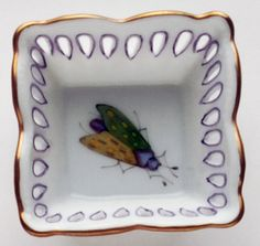 Anna Weatherley Small Square Dish Green/Yellow Bug
