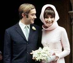 Dr. Andrea Dotti & Audrey Hepburn (in Givenchy) on their wedding day at the town hall in Morges, Switzerland, January 18th, 1969