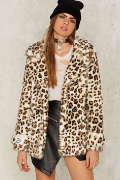 Jakke Marsha Leopard Coat - The Party Animal | All Gifts | Grunge | Best Sellers | Faux Fur | Faux Fur