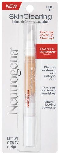Neutrogena SkinClearing Blemish Concealer, Light 10 (Pack of Shape Tape Contour Concealer, Concealer Palette, Face Contouring, Acne Medicine, Salicylic Acid Acne, Too Faced Concealer, Liquid Makeup, Neutrogena, Clear Skin
