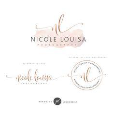 Watercolor Logo Design Rose gold Branding kit Photography