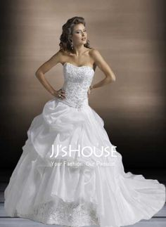 Wedding Dresses - $206.49 - Sexy Ball-Gown Sweetheart Chapel Train Organza  Satin Wedding Dress with Lace  Beadwork (002000423) jjshouse.com