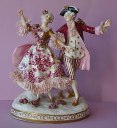 Beautiful Porcelain Figurine Figure Dance Couple Group Volkstedt Dresden Germany
