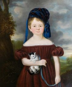 ENGLISH SCHOOL - OIL ON CANVAS, C.1830, girl with a cat