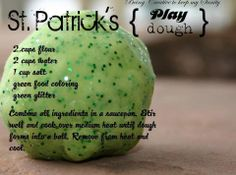 Easy St Patricks Day Craft ~GReen Glitter Play Clay!