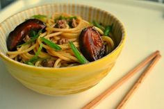 Dan Dan Noodles with Shiitakes and Pork (China)   - Explore the World with Travel Nerd Nici, one Country at a Time. http://TravelNerdNici.com