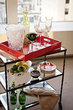 like the set up of this serving cart. saw this tray at #Zgallerie!