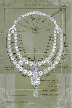 In Detail: Drawing of the ceremonial necklace from Cartier. @Jourdan H.