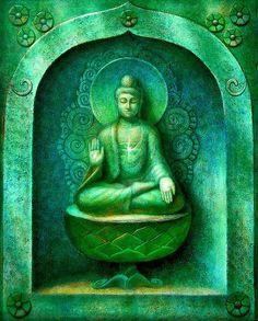 Green Buddha Meditating, original oil on canvas painting by Sue Halstenberg
