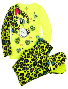 Cheetah 2pc Set With Removeable Footies   Girls Pajamas & Robes Clothes   Shop Justice