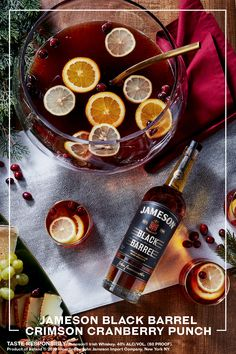 Holidays mean one thing: hosting. Celebrate stress-free with this easy to make Jameson Black Barrel Crimson Cranberry Punch. Party Drinks, Cocktail Drinks, Fun Drinks, Yummy Drinks, Yummy Food, Beverages, Christmas Cocktails, Holiday Cocktails, Cranberry Punch