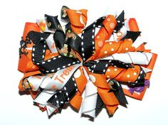 Handmade pair korker girls hair bows bobbles ribbon school halloween orange