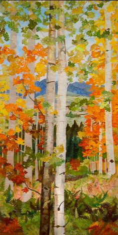 "Aspen by Jean Ann Fausser  Fabric collage 81"" x 39"" framed. Hand dyed fabrics, oil pastels, threads."