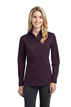 Port Authority Womens Stretch Poplin Shirt L Aubergine Purple *** Continue to the product at the image link.