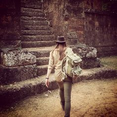 Rucksack backpack perfect camera bag for adventure! National geographic canvas bag (medium)  Lara Croft style in a Tomb Raider inspired adventure to Cambodia