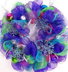 Mesh Wreath for winter or Christmas sapphire jewel tones winter wonderland snowflakes deco geo
