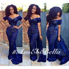 Navy blue aso ebi, asoebi long dress for Nigerian brides bridesmaids and wanted weddings