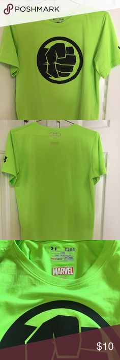 Under Armour Alter Ego Hulk shirt Youth Under Armour Alter Ego Hulk Heat Gear Loose style shirt.  With the Moisture Transport System that wicks away sweat from your body and prevents odor causing microbes from forming.  The material is ultra smooth and soft - Like New! Under Armour Shirts & Tops Tees - Short Sleeve
