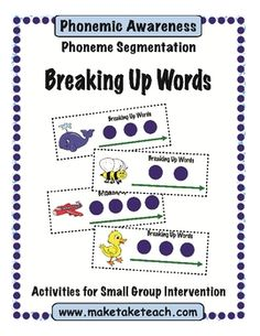 Great activity to use during small group instruction when introducing phoneme segmentation