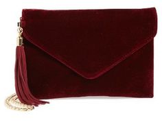 Bp. Tassel Velvet Crossbody Bag - Burgundy