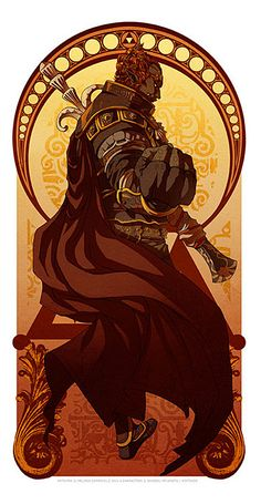 Legend Of Zelda: Art Nouveau - Ganondorf by Melissa Somerville.