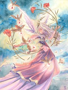 Pink Fairy Art Print Delivering Valentines  Flying by sarambutcher, $16.00