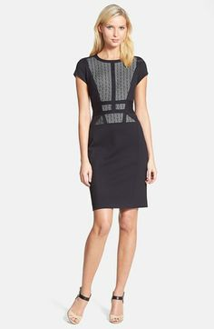 talia lace fron ponte capped sleeve sheath dress in black and cream {40% now during Nordstrom's Half Yearly Sale!!}