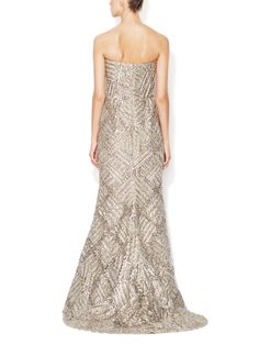Silk Lamé Embellished Gown by Oscar de la Renta at Gilt