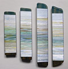 Reflected Summer Tides. Hand-dyed threads on wood. Helena Emmans.