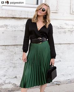 """Value Village on Instagram: """"It's official, we need a little emerald in our lives #Repost @paigeeaton ・・・ 🌲 New post up on PersonallyPaige.com 🌲 Although its ten…"""" Green Tulle Skirt, Modern Closet, Skirt Outfits, Work Outfits, Work Wear, Emerald, Midi Skirt, Hoodie, Style Inspiration"""